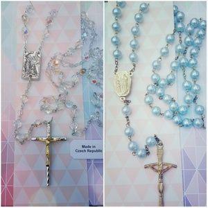 2 Gorgeous Rosary Prayer Beads Blue & Irridescent